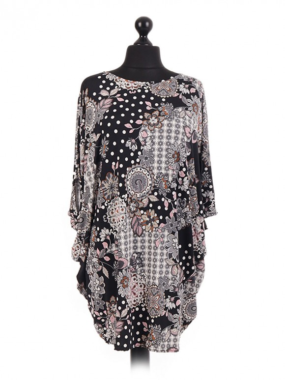 Embossed Floral Print Batwing Tunic
