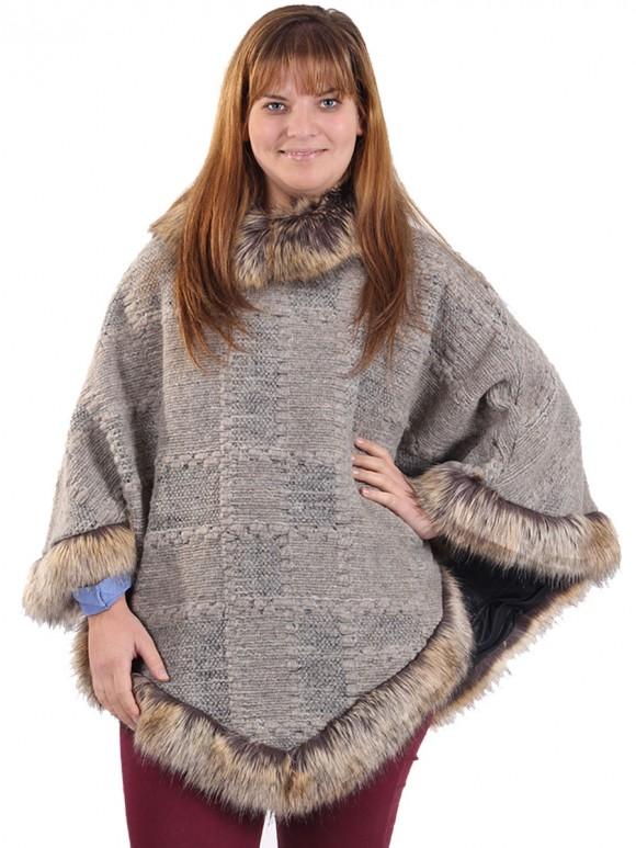 Faux Fur Woollen Poncho Beige