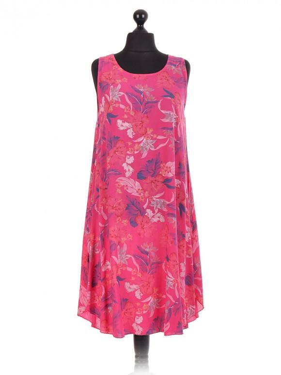 Italian Floral Sleeveles Swing Dress