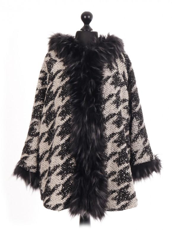 Italian Wool Dogtooth Fur Trim Winter Jacket