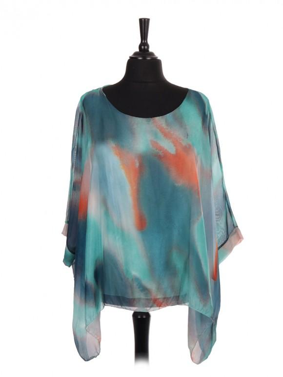 Italian Abstract Print Two Layered Silk Batwing Tunic Top