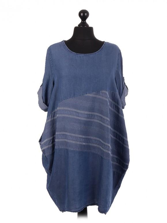 Italian Asymmetric Contrast Panel Lagenlook Chambray Dress
