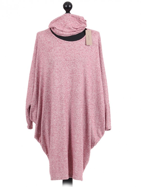 Italian Batwing Sleeves Quirky Dress Pink