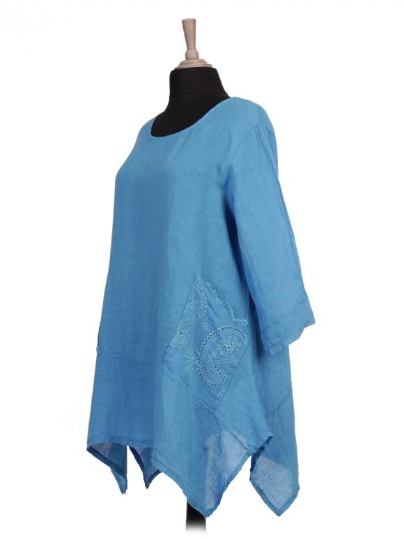 Italian Broderie Pockets Linen Tunic Top