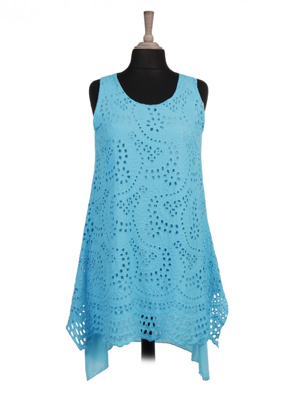 Italian Two Layered Front Broderie Tunic Top