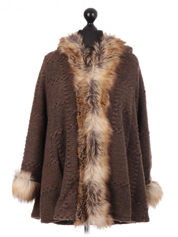 Italian Brown Textured Fur Hooded Cape Jacket