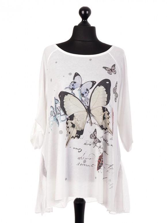 Italian Butterfly Print Tunic Top With Chiffon Hem