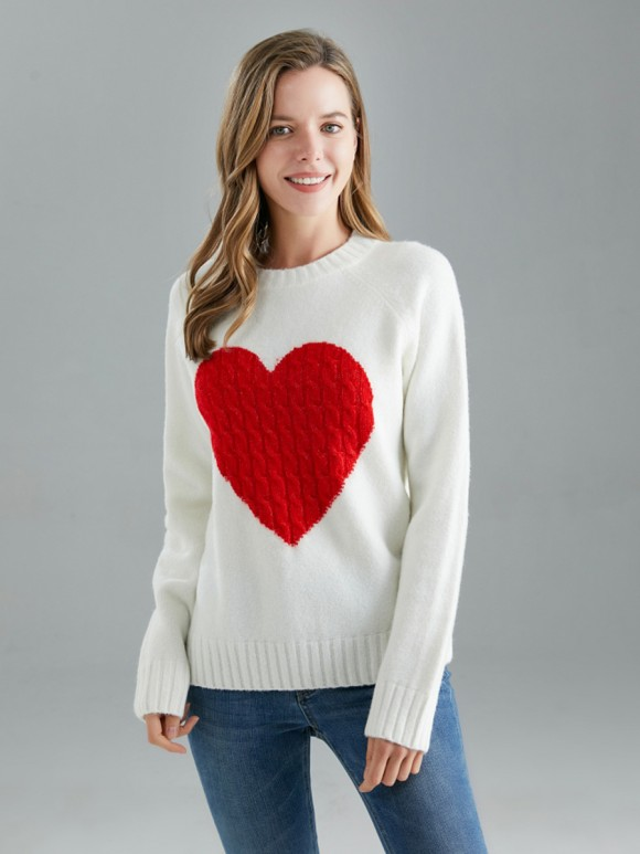 Italian Cable Knitted Heart Wool Mix Jumper