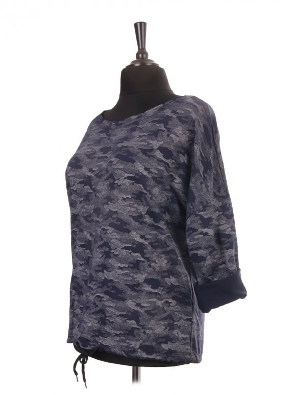 Italian Camouflage Print Gathered Hem Cotton Top