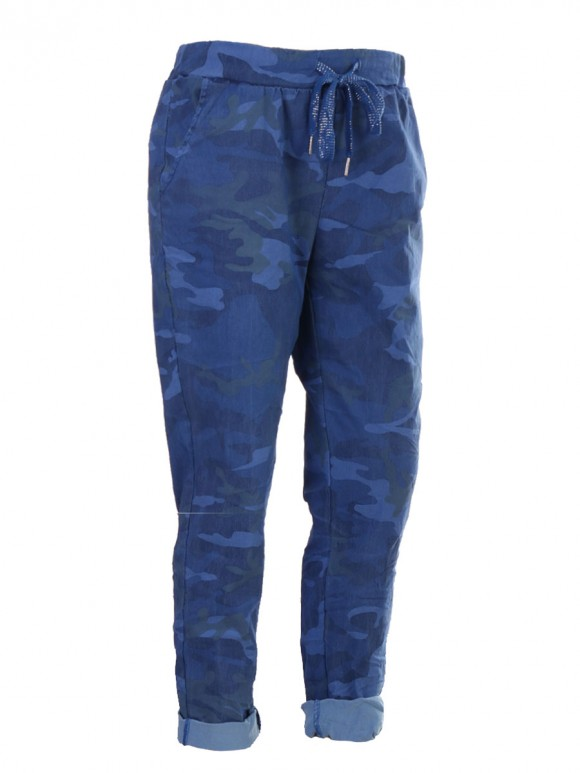 Plus Size Italian Camouflage Print Magic Pants With Drawstring Waist Belt