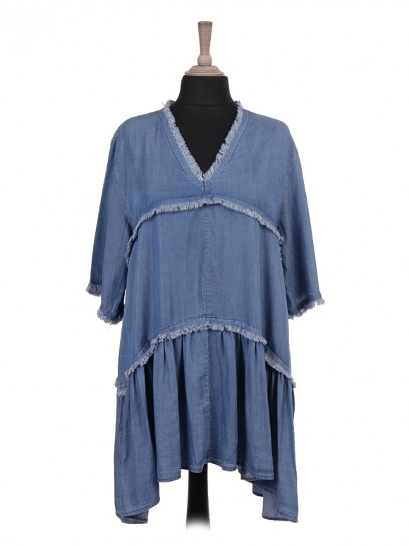 Italian Chambray Frayed Edge Smock Dress
