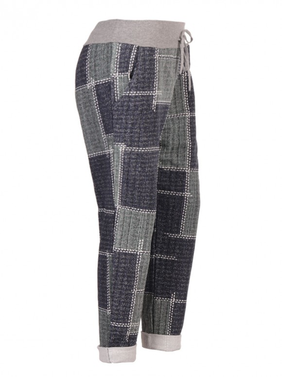 Plus Size Italian Check Print Cotton Trousers With Side Pockets