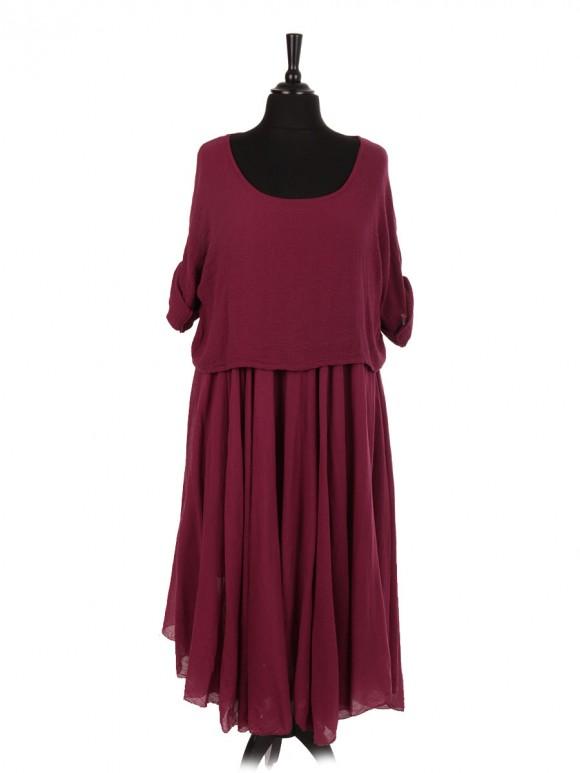 Italian Cotton 2 Piece Flare Maxi Dress with Shrug Top