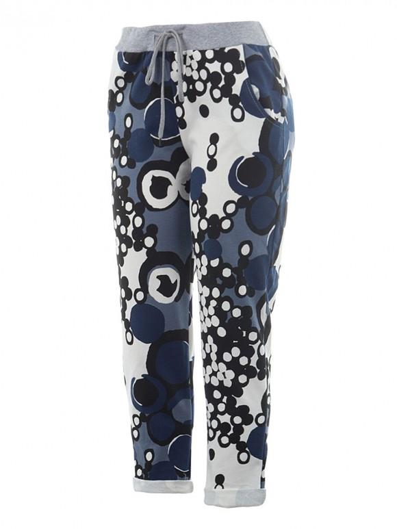 Italian Cotton Circle Print Summer Trouser