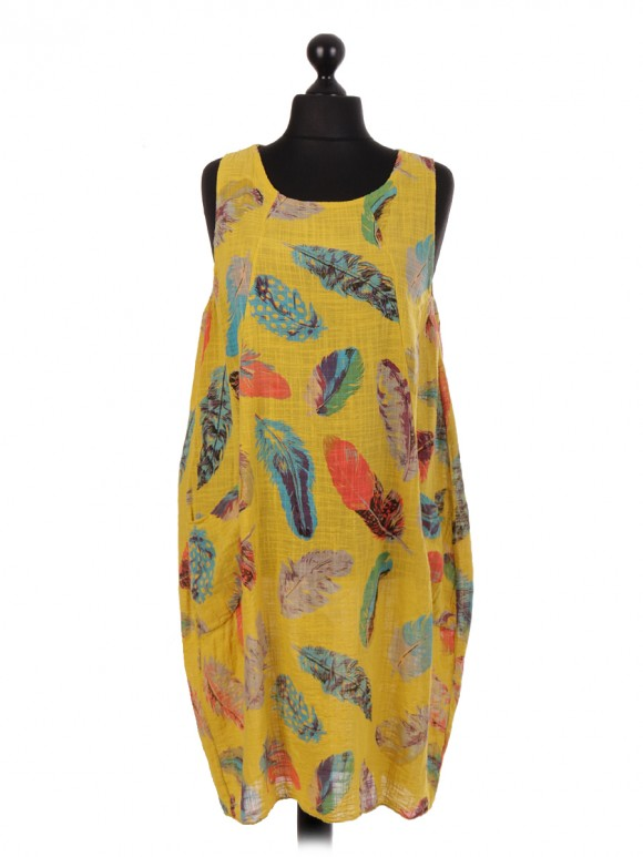 Italian Cotton Feather Print Lagenlook Dress