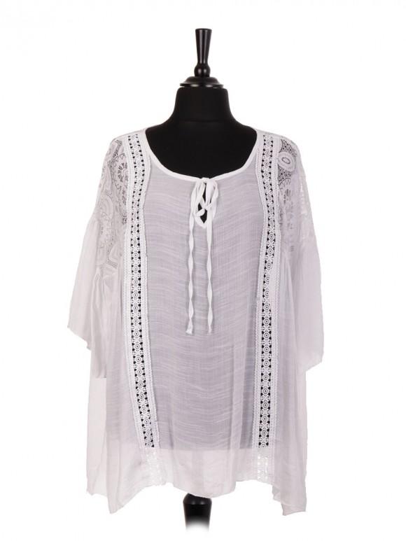 Italian Cotton Lace Panel Tie Neck Blouse