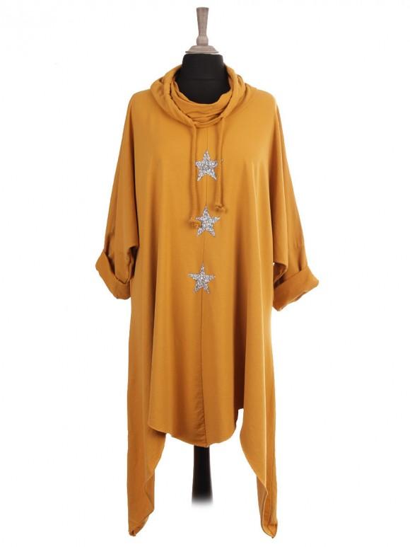 Italian Cowl Neck Diamante Stars Long Dress