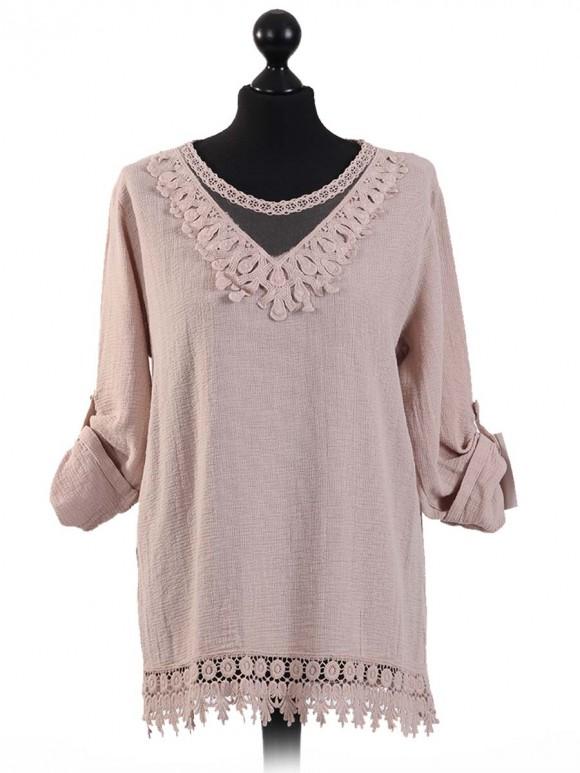 Italian Crocheted Neck & Hem Cotton Top-Beige