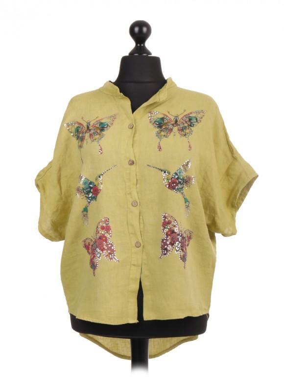 Italian Dip Hem Shirt Featuring Printed Butterflies