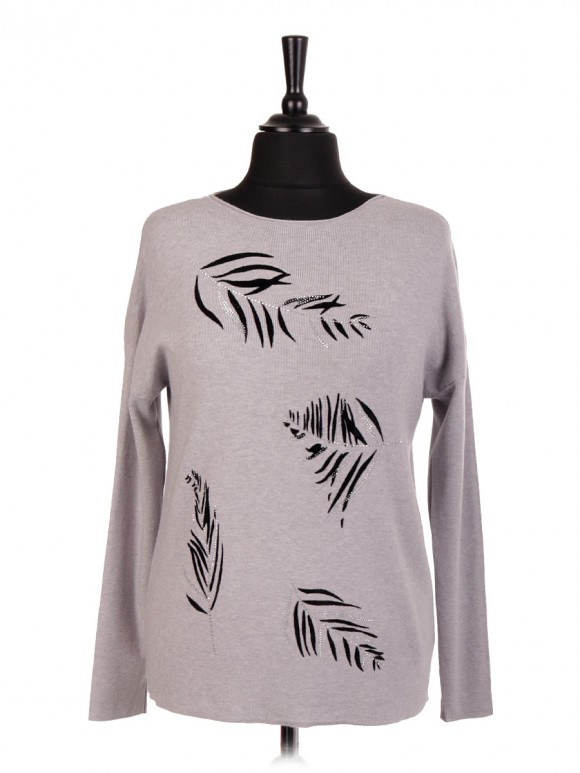 Italian Embossed Feather Pattern And Diamante Detail Jumper