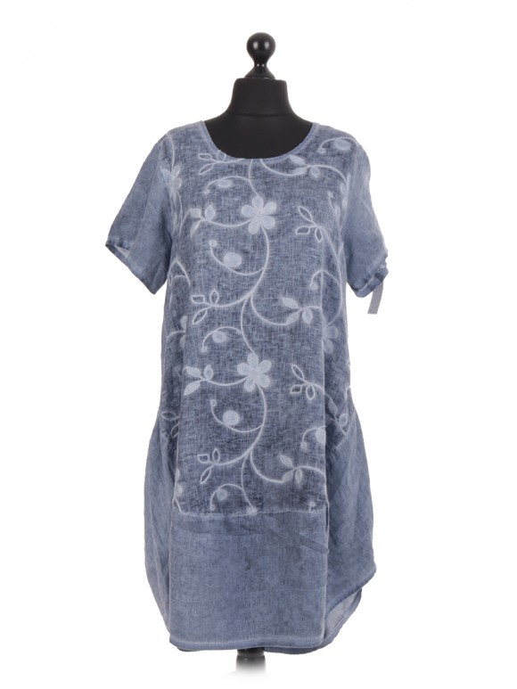 Italian Embroidered Floral Dye Dress