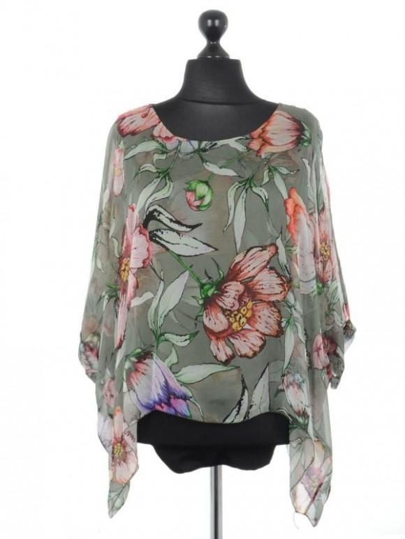 Italian Floral Print Batwing Tunic Top