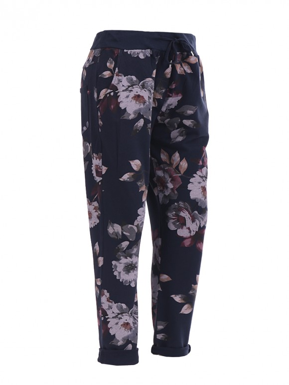 Italian floral print trouser- color navy