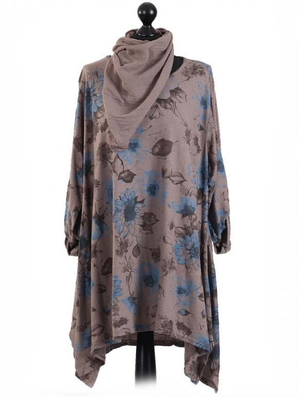 Italian Floral Print Tunic Top With Turn Up Sleeve and Scarf-Mocha