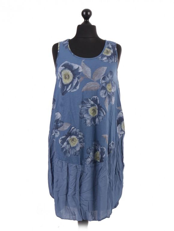 Italian Floral Tunic Dress With Round Hem
