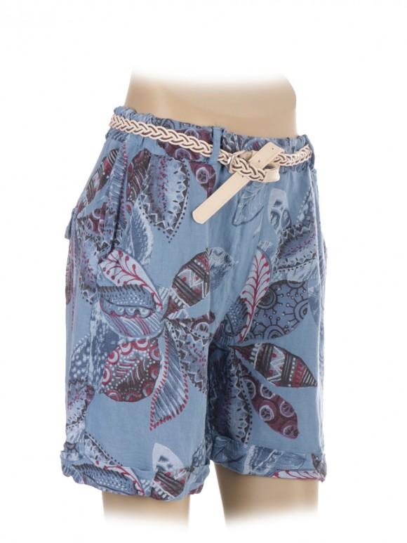 Italian Flower Print Linen Shorts With Side Pockets and Waist Belt