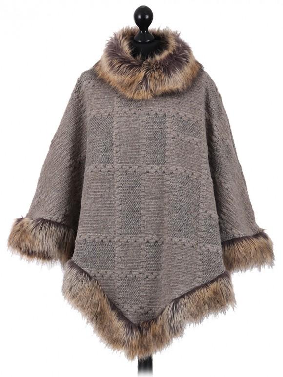 Italian Ladies Woollen Faux Fur Poncho beige