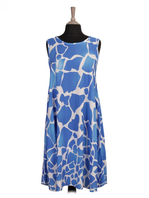 Italian Giraffe Print Flared Dress