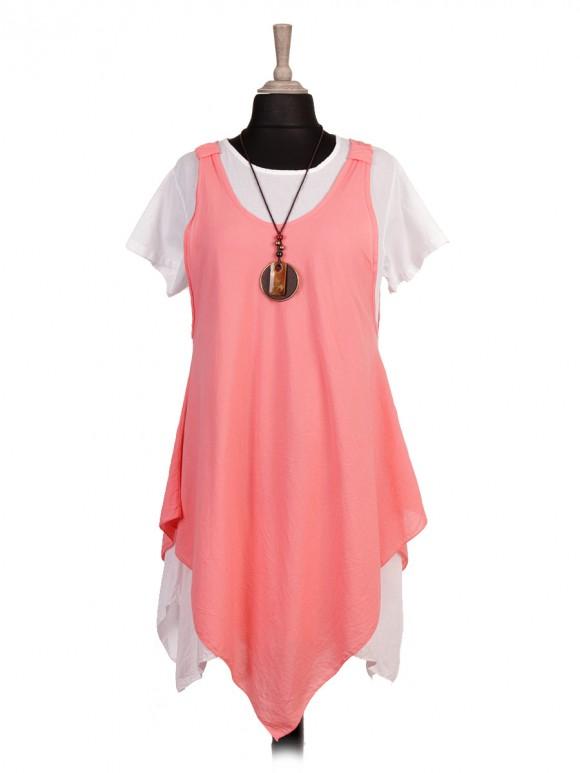 Italian Handkerchief Hem Two Layered Dress with Necklace