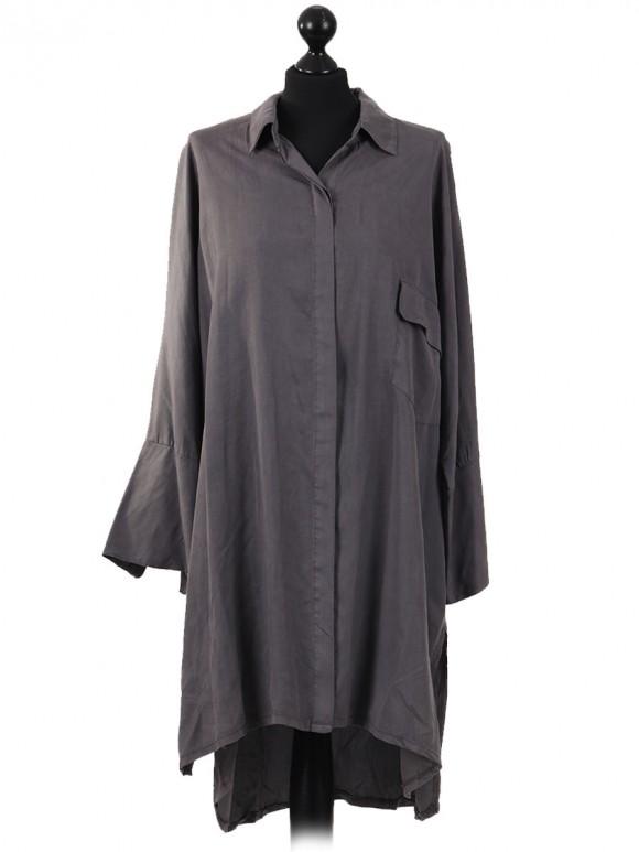Italian High Low Pocket Long Dress Grey