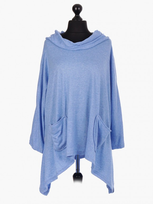 Italian Hooded Cowl Neck Tunic Top With Front Pocket