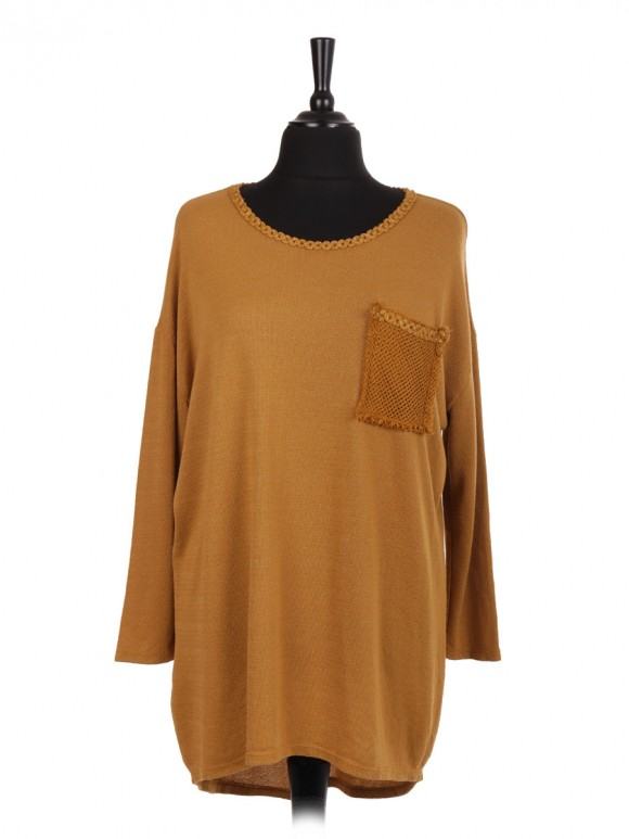 Italian Knitted Dip Hem Top With Front Crochet Pocket