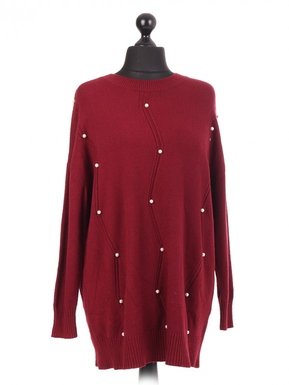 Italian Knitted Jumper With Zig Zag Pattern & Beads
