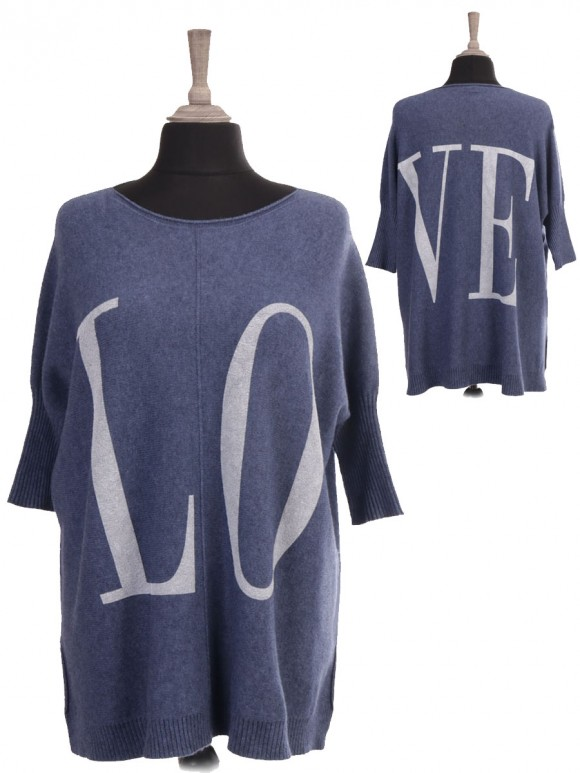 Italian Knitted Love Slogan Jumper With Side Split
