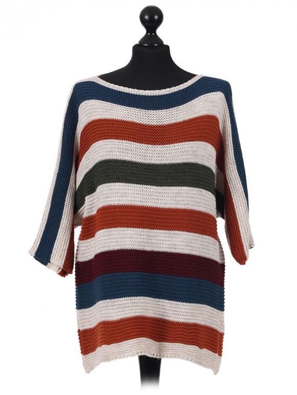 Italian Knitted Stripy Batwing Half Sleeves Top navy