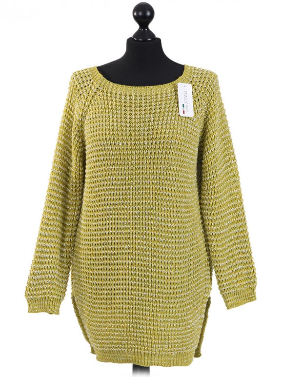 Italian Knitted Thigh Length Sequin Tunic Top-Lime green