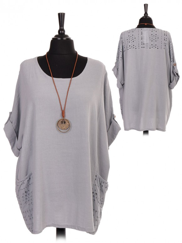 Italian Lace Pockets And Back Neckline Top With Necklace