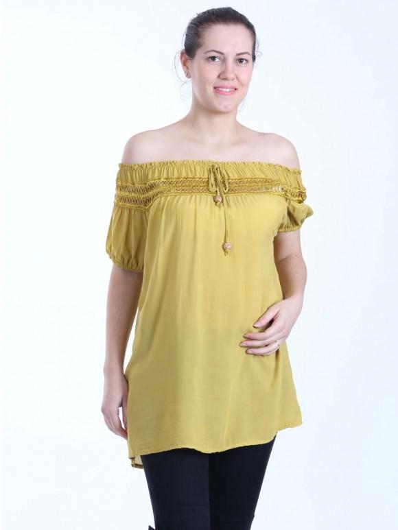 Italian Lace Top Off Shoulder Lagenlook Top With Front Tassels
