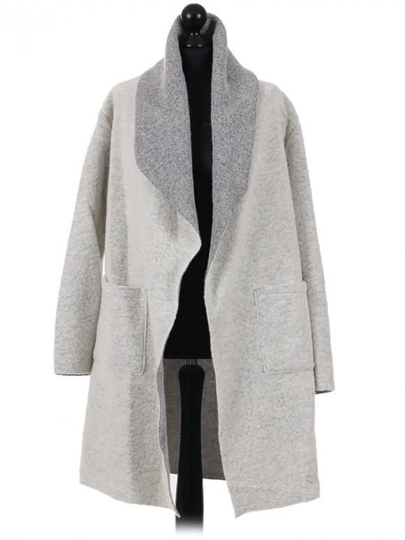 Italian Ladies Wool Mix White Cardigan plus size
