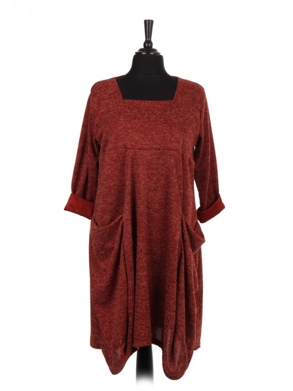 Italian Square Neck Lagenlook Dress With Front Pockets