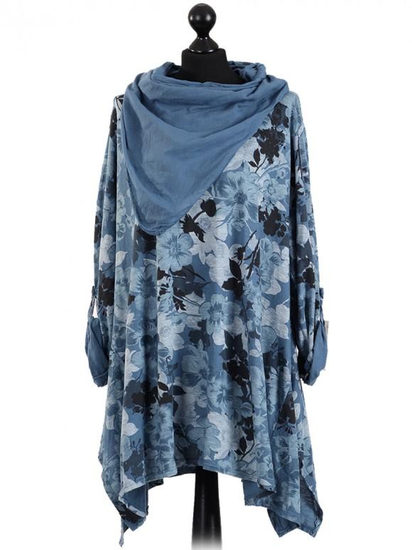 Italian Lagenlook Floral Print Tunic Top With Scarf-Denim