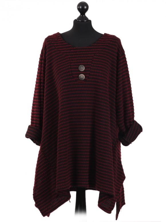 Italian Ladies Lagenlook Stripe Knitted Tunic Top Wine