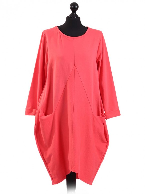 Italian Lagenlook Front Pocket Dress-Coral