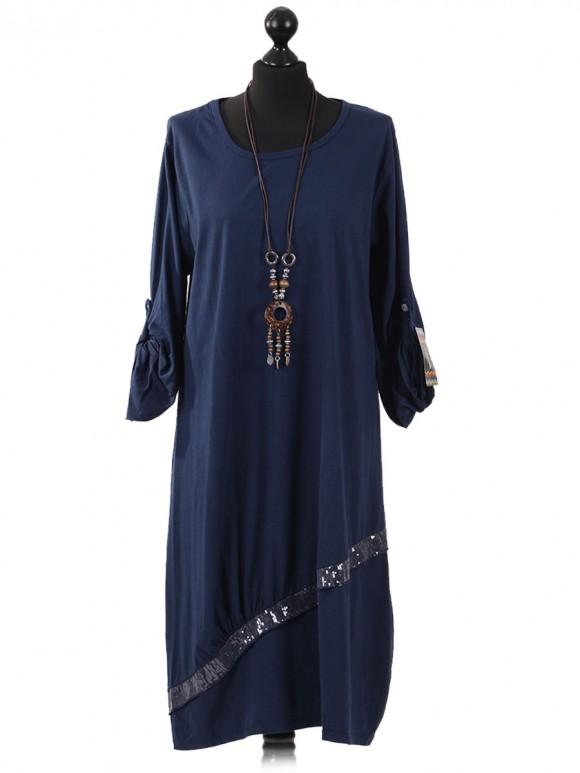 Italian Lagenlook Sequin Pocket Jersey Dress navy