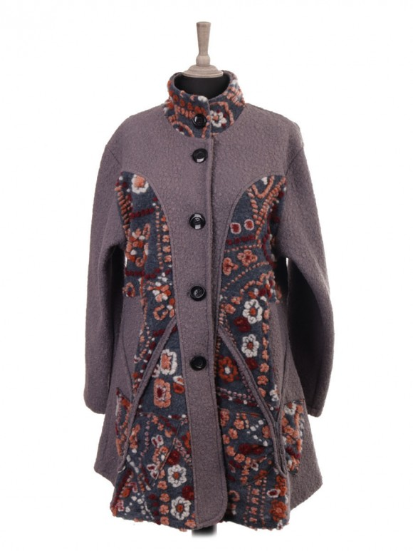 Italian Lana Wool Coat with Boiled Wool Detail and Side Pockets