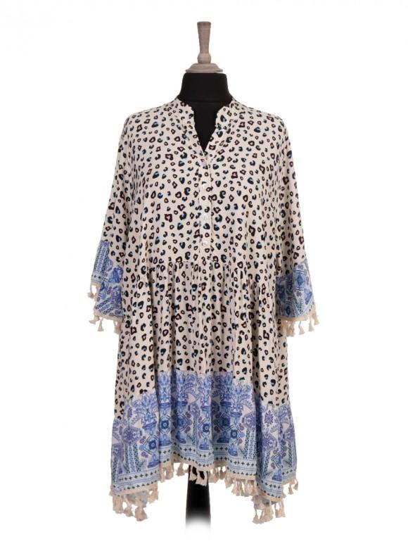Italian Leopard Print Flared Dress With Tassel Detail